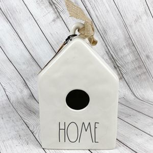 Rae Dunn | HOME Ceramic Birdhouse with Burlap Bow